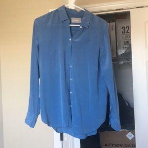 Blue silk button down
